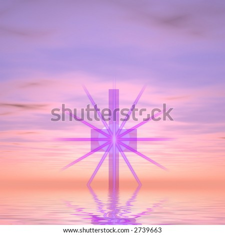 Purple cross with star burst against purple sky rising from water. - stock photo