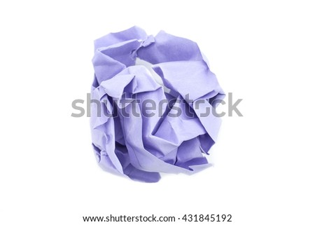 purple Crumpled paper ball isolated on white background
