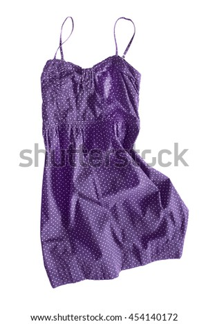 Purple crumpled sundress on white background