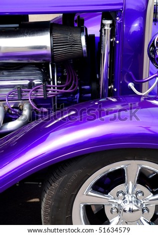 Purple custom car - stock photo