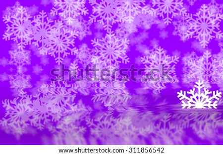 Purple defocused snowflakes background with white half shape of snowflakes in water reflection of background - stock photo
