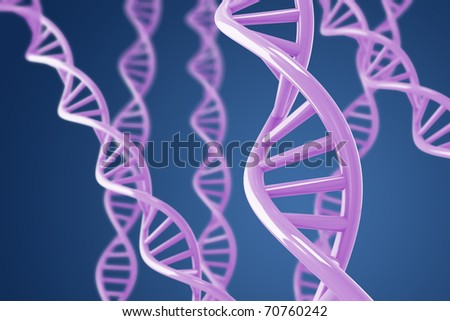 Purple DNA helices on a blue background with shallow DOF - stock photo