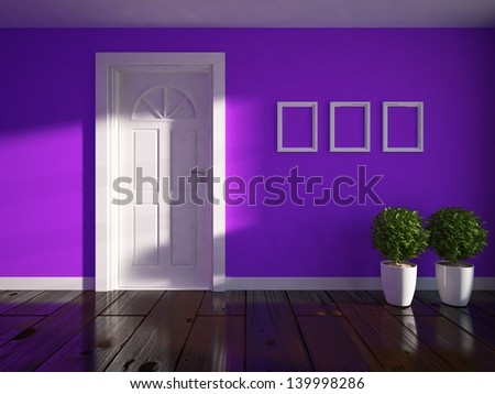 purple empty interior with door - stock photo