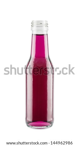 Purple energy drink in glass bottle isolated on white background