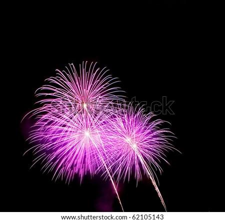 Purple  Fireworks released in the dark sky - stock photo