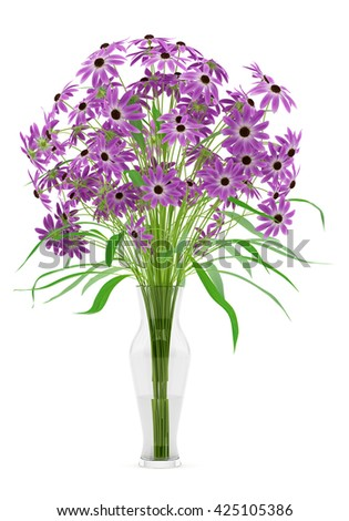 purple flowers in glass vase isolated on white background. 3d illustration - stock photo