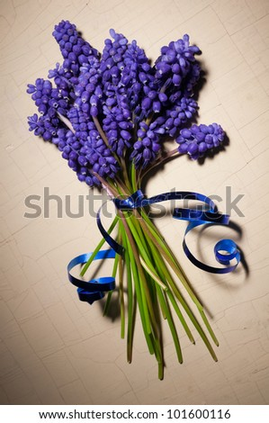 purple flowers on the table with age - stock photo