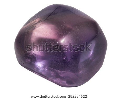 purple fluorite macro isolated on white - stock photo