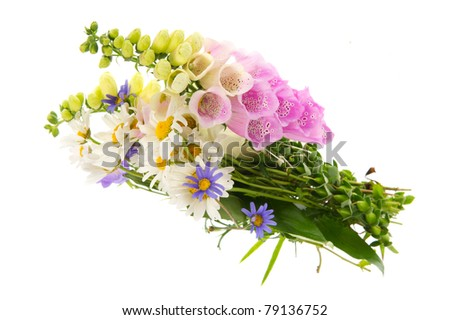 Purple Foxglove flowers and other wild flowers in bouquet