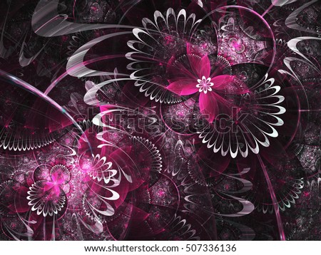 Purple fractal flowers, digital artwork for creative graphic design