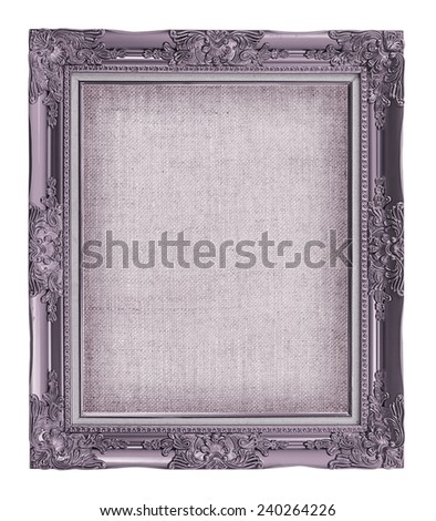 purple frame with empty grunge linen canvas for your picture, photo, image. beautiful vintage background - stock photo