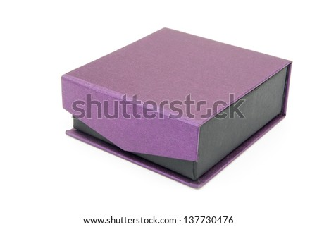 purple gift box closed on white background