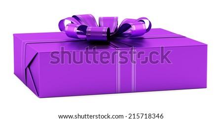 Purple gift box ribbon isolated on stock illustration 215718355 purple gift box with ribbon isolated on white background negle Choice Image