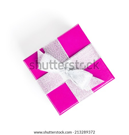 Purple gift box with silver ribbon. Isolated on white background. View from above - stock photo