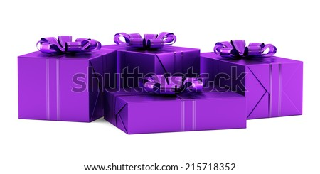 purple gift boxes with ribbons isolated on white background - stock photo