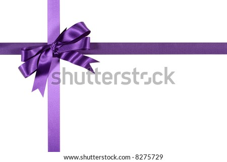 Purple gift ribbon and bow border frame isolated on white background