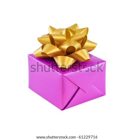 Purple gift wrapped present with golden decorative bow isolated on white - stock photo