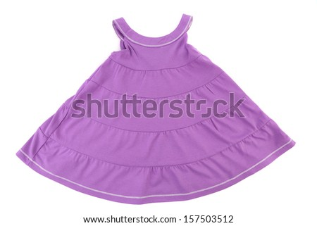 Purple girl dress. Isolated on a white background. - stock photo