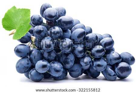 Purple grape with green leaf isolated on white background. - stock photo