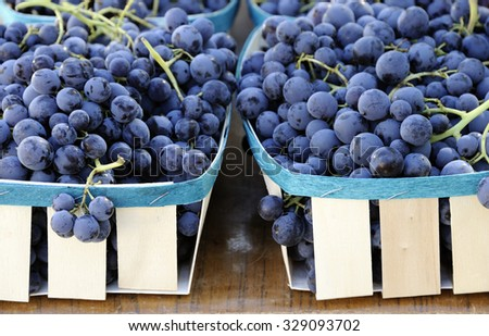 Purple grapes at a French farmers market - stock photo