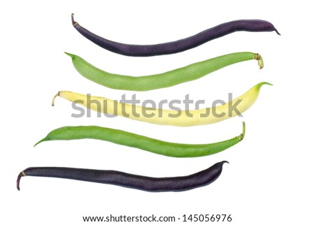 Purple, green and yellow Wax Snap Beans on the white background - stock photo