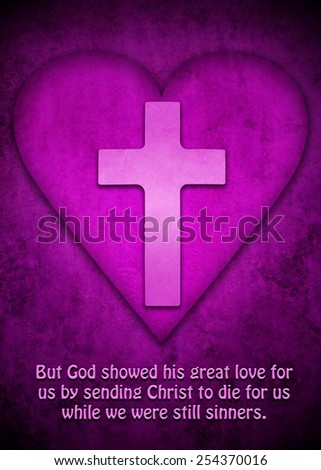 Purple heart with cross inside and quote from Romans 5:8 - stock photo