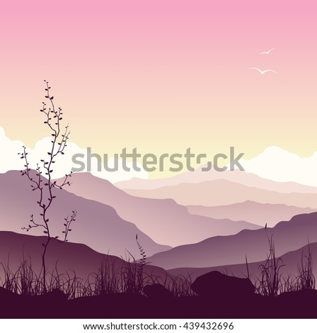 Purple huge mountains landscape with grass and tree. Wild nature at sunset.  Raster version of the illustration.  - stock photo