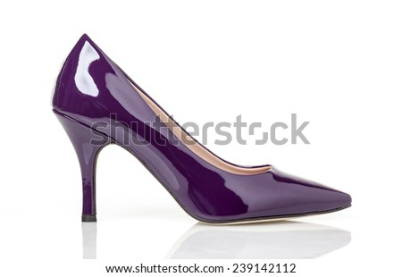 Purple Lack Heels sexy women's shoes isolated on white background