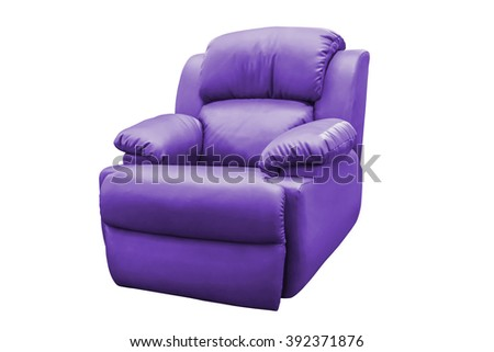 Purple leather armchair isolated on white background, with clipping path. - stock photo