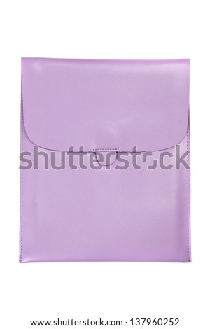 Purple leather tablet computer bag on a white background - stock photo