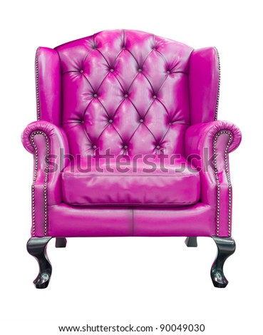 purple luxury armchair isolated with clipping path - stock photo