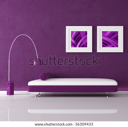 purple minimal interior with velvet sofa and lamp, the image on wall are my abstract composition - stock photo