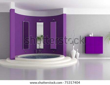purple  modern bathroom with circular luxury bathtub - rendering - stock photo