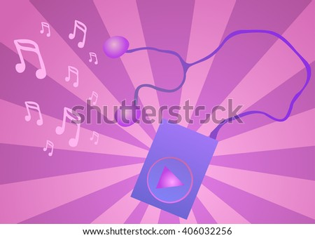 Purple music player on a pink background.