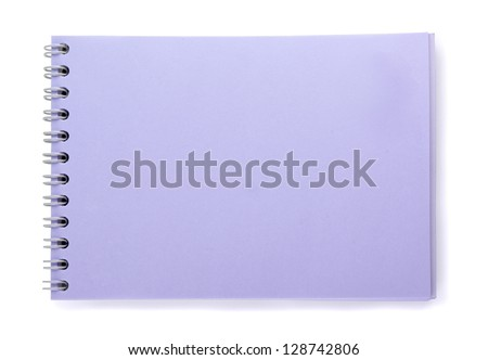 Purple notebook on a white background - stock photo