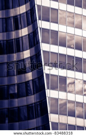 Purple office building - stock photo