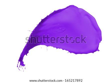 purple paint splash isolated on white background - stock photo