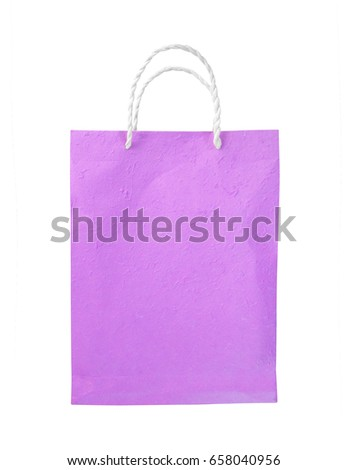 Purple paper bag isolated on white