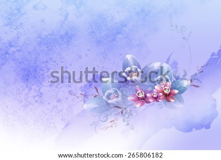 purple, pink & red flowers over grunge background. Romantic, valentine, natural, graphic, floral, wedding, elegant, art pattern, invitation, wallpaper, stain, violet artistic idea template - stock photo