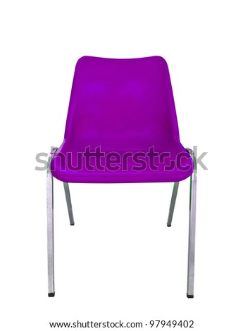 purple plastic chair on white background with clipping path - stock photo