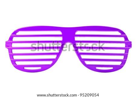 purple plastic shutter shades sunglasses isolated on white background - stock photo