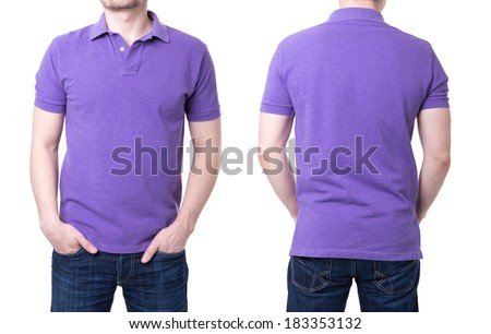 Purple polo shirt on a young man template on white background - stock photo