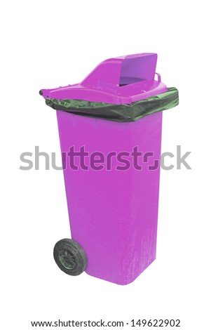 purple Recycle bin isolate on white wallpaper - stock photo