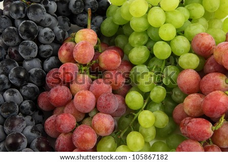 Purple, red and green grapes - stock photo