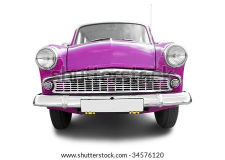 purple retro car isolated on white background - stock photo