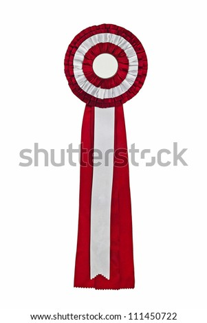 Purple ribbon award. Rosette of purple and silver satin fabric with a ribbon tail isolated on white - stock photo