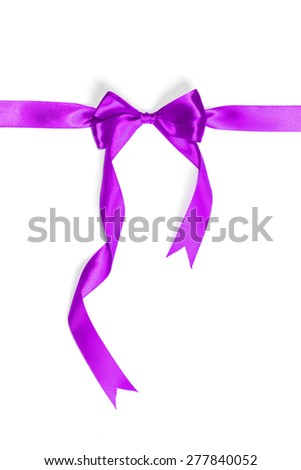 purple ribbon isolated on white. studio shot - stock photo