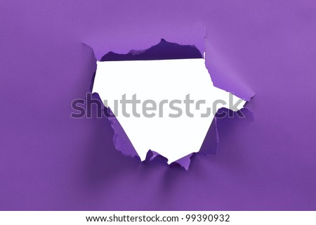 Purple ripped paper background - stock photo
