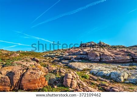 purple rocks in Sardinia, Italy - stock photo