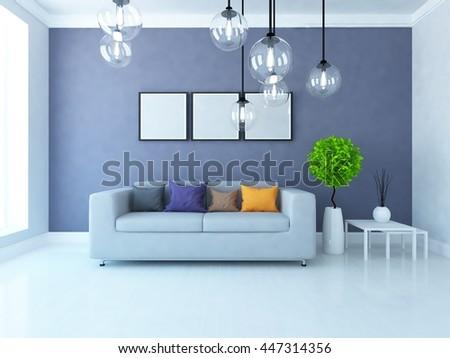 Purple room interior. Living room interior. Scandinavian interior. 3d illustration - stock photo